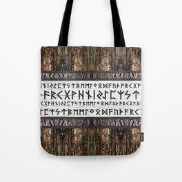 Elder Futhark on wooden texture Tote Bag