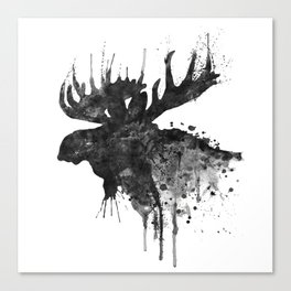 Black and White Moose Head Watercolor Silhouette Canvas Print