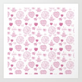 Vintage set of pink  hearts and symbols for valentines day Art Print