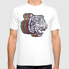 3D Tiger Mens Fitted Tee White MEDIUM