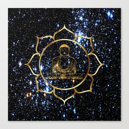 Gold funky Space Buddha Canvas Print
