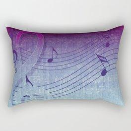 Aqua Purple Ombre Music Notes Rectangular Pillow
