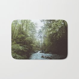Peaceful Forest, Green Trees and Creek, Relaxing Water Sounds Bath Mat