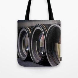 Row of photo lenses Tote Bag