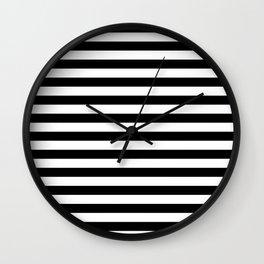 Black and White Horizontal Strips Wall Clock