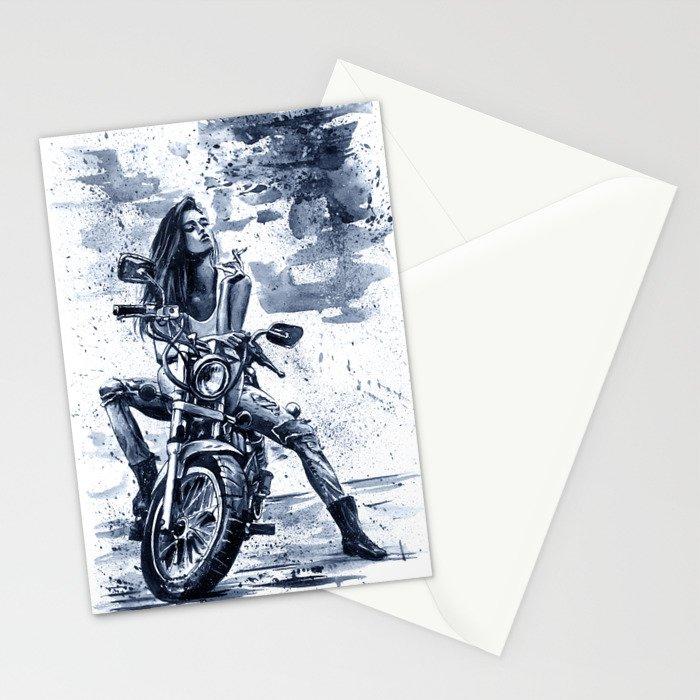 Biker Girl Stationery Cards