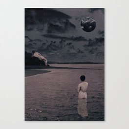 'Ultrasound Moon' Collage Canvas Print