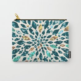 Glitter Dahlia in Gold, Aqua and Ocean Green Carry-All Pouch