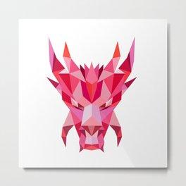 Dragon Head Front Low Polygon Style Metal Print