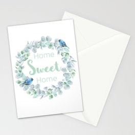 Home sweet home Watercolor wreath Stationery Cards