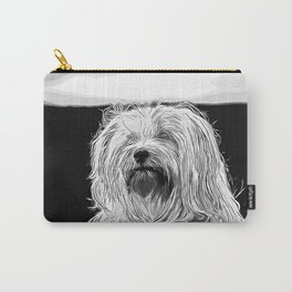 hairy havanese dog vector art black white Carry-All Pouch