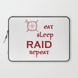 eat-sleep-RAID-repeat red, Vikings Laptop Sleeve