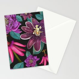 Passiflora and hellebore flower pattern black Stationery Cards