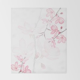 pink cherry blossom macro 2018 Throw Blanket