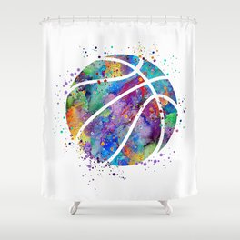 Basketball Watercolor Art Print Sports Poster Home Decor Kids Room Sports Painting Nursery Decor Shower Curtain