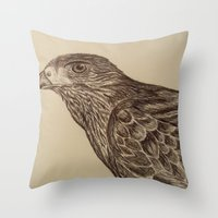 hawk Throw Pillows featuring Hawk by Leslie Creveling