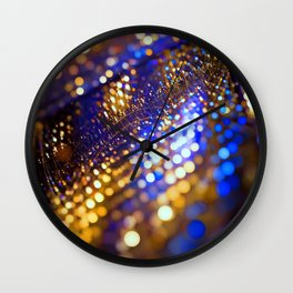 Gold Blue bokeh Wall Clock