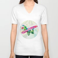 snowboard V-neck T-shirts featuring Snowboarder Snowboard Jumping Low Polygon by patrimonio