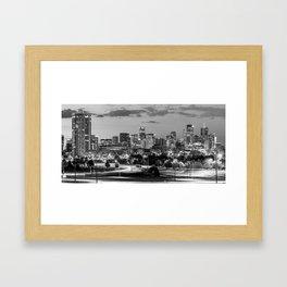 Denver Colorado BW Skyline Panorama Framed Art Print