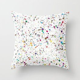 80s RAINBOW SPLATTER PAINT PATTERN Throw Pillow