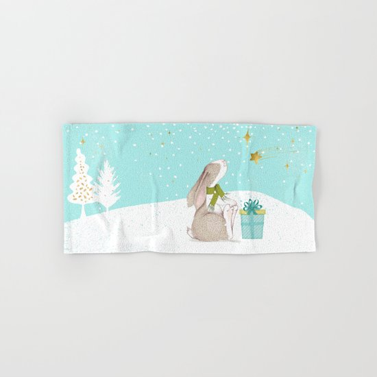 Bunny looking for Christmas- Beautiful watercolor illustration for children and all Hand & Bath Towel