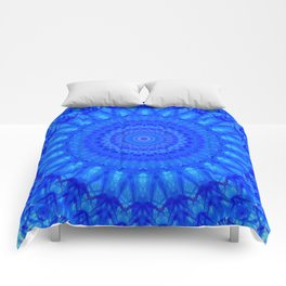 Detailed mandala in blue tones Comforters
