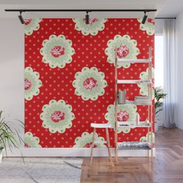 Shabby Chic Rose Pattern Wall Mural