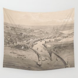 Vintage Pictorial Map of Boulogne-sur-Mer France (1865) Wall Tapestry