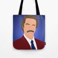 anchorman Tote Bags featuring Ron Burgundy - Anchorman by Tom Storrer