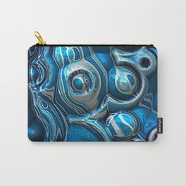Macro 3D Blue Reflections Carry-All Pouch