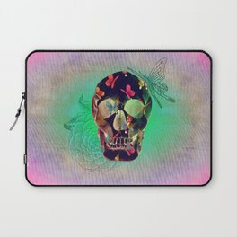 Colorful Hand Drawn Skull with Butterflies on Canvas Laptop Sleeve