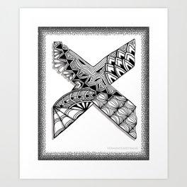 Zentangle X Monogram Alphabet Initial Art Print