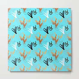 I Love You ILY - Turquoise Metal Print