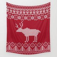 reindeer Wall Tapestries featuring  Reindeer by Julia Badeeva