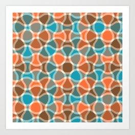 Funky Abstract Ogee Pattern 342 Orange Brown Cyan and Beige Art Print