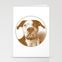 pit bull Stationery Cards featuring Pit Bull by George Peters