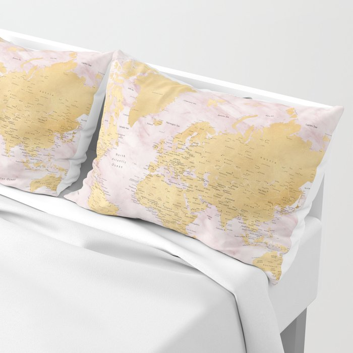 "Adventure awaits, gold and pink marble detailed world map, ""Sherry"" Pillow Sham"