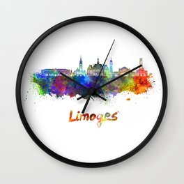 Limoges skyline in watercolor Wall Clock