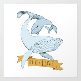 Big Love (gold and blue) Humpback Whales Art Print