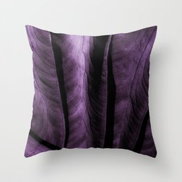 Purple Elephant Ear Leaf Throw Pillow