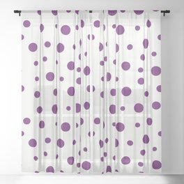 Purple dots of different sizes over beige background Sheer Curtain