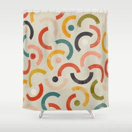 mid century geometric abstract Shower Curtain