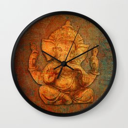 Lord Ganesh On a Distress Stone Background Wall Clock