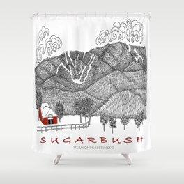 Sugarbush Vermont Serious Fun for Skiers- Zentangle Illustration Shower Curtain