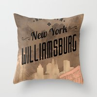 brooklyn Throw Pillows featuring BROOKLYN by Stylegrafico