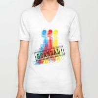 scandal V-neck T-shirts featuring Scandal Scandal Scandal by Genco Demirer