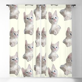 cute girly chic beige white cat pattern Blackout Curtain