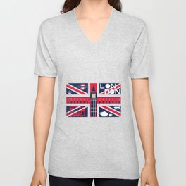 Vintage Union Jack UK Flag with London Decoration Unisex V-Neck