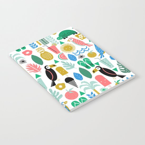 Tropical Vacation Island print pattern fun beach surf sand fun gift for trendy dorm room bright  Notebook
