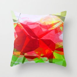 Red Rose Edges Abstract Polygons 1 Throw Pillow